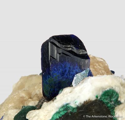 Azurite, Anglesite, Malachite, and Calcite (fl)