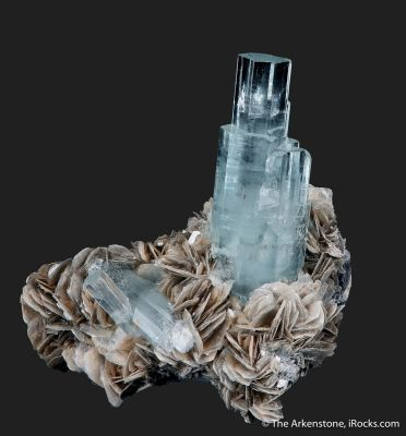 Beryl var. Aquamarine and Muscovite
