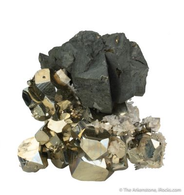 Chalcopyrite on Pyrite with Quartz and Dolomite