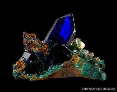 Azurite with Malachite and Calcite