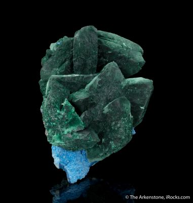 Malachite ps. Azurite on Plancheite