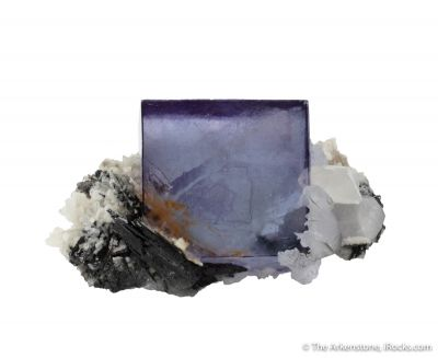 Fluorite with Ferberite, Quartz and Calcite