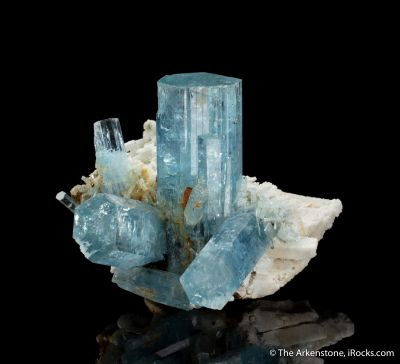 Beryl var. Aquamarine with Microcline and Goethite