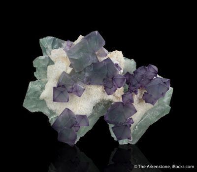 Fluorite, Quartz on Fluorite