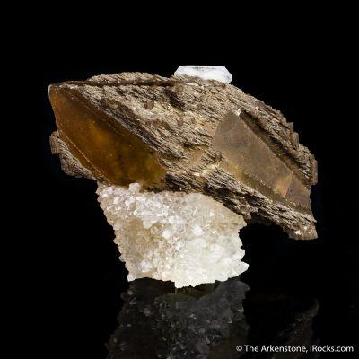 Calcite on Calcite, on Calcite over Drusy Quartz