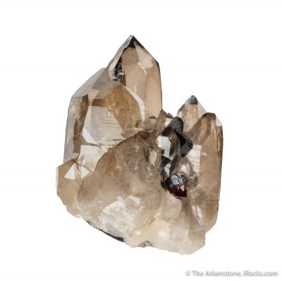 Smoky Quartz with Albite, Schorl and Spessartine
