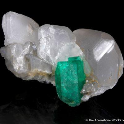 Emerald on Calcite (illustrated)