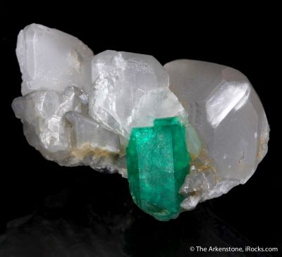 Emerald on Calcite (illustrated)