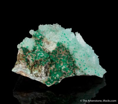 Cuprian Adamite on Calcite