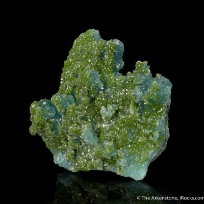 Blue Willemite with Duftite-included Calcite