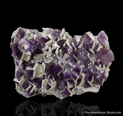 "Fluorite with Calcite and Pyrite ""snowcaps"""