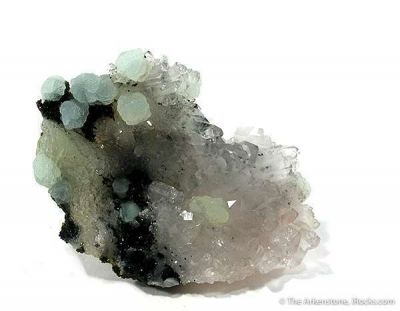 Prehnite With Manganbabingtonite And Quartz
