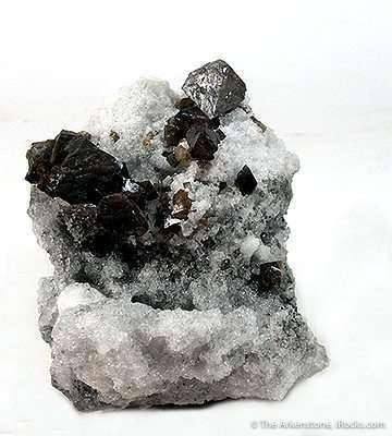 Scheelite With Fluorite on Quartz